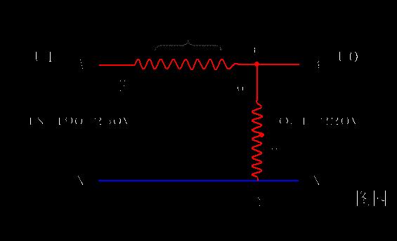 上图为带补偿式单相交流稳压器原理图.主要由调压变压器T1和补偿变压器T2组成.从图中可以看出,补偿变压器的低压侧线圈串联在稳压器的主回路中,那么,这种稳压器输出的主要能量是通过补偿变压器的低压侧线圈直接加给输出负载的.只要把补偿变压器的二次线圈的线径作得足够大,稳压器的功率就可以做得很大.